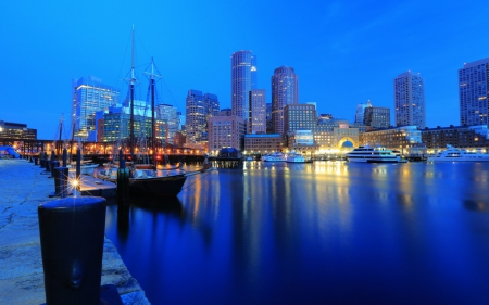 Boston Harbour - boats, buildings, night city, quay, Boston, wharf, harbor, blue