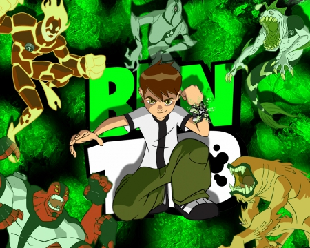 ben 10 - heat balst, ghost freak, wid, four arms, wild mutt
