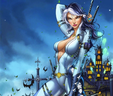 Grimm Fairy Tales Unleashed Cover#2 - cartoons, female, bats, traditional media, comics, fighters, weapons, paintings, battle, fairies, cross, drawings, sword, other