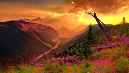 Mountain Sunset Nature Wallpaper