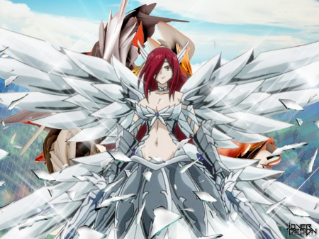 Erza Scarlet - wings, titania, erza scarlet, red hair, brown eyes, sparkle, fairy tail, warrior, headband, sword