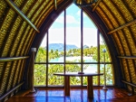 Tahitian Paradise Tropical Island Wedding Ceremony in Perfect Exotic Chapel at Four Seasons Luxury Island Resort