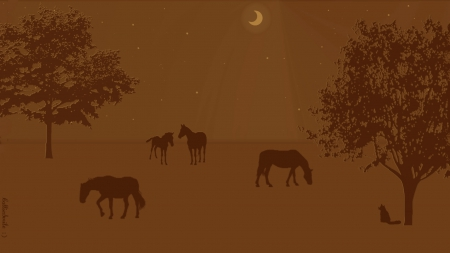 A Peaceful Pasture - Brown Tones - stars, brown, kitty, m00n, trees, cat, horse, fe1ines, horses, nighttime, moon, kitty cat, pastures, nightime, night