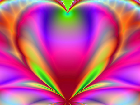 Bright Love - rainbows, fantasy, 3d, love, hearts, abstract