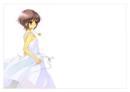 ~Nagato Yuki~ - short hair, nagato yuki, brown hair, anime, suzumiya haruhi no yuutsu, white dress