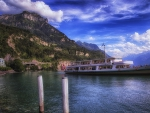 cruise ship on a swiss lake hdr