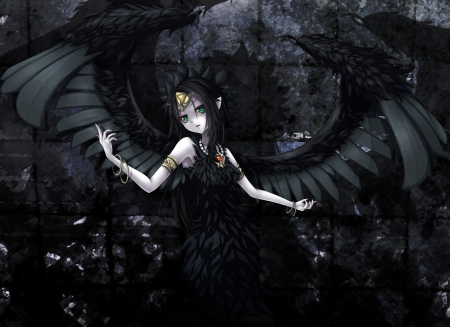 Black Angel - black, beautiful, anime, angel