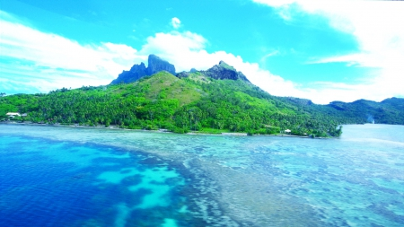Bora-Bora Coral Reef - water, forests, turquoise, clouds, ocean, Polynesia, emerald, beach, green, hills, trees