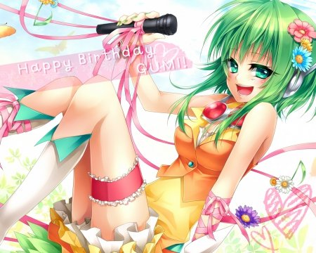 Happy Birthday Gumi!! - vocaloid, microphone, anime, flowers, ribbons, Gumi
