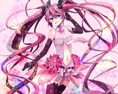 Sakura Miku Append - vocaloid, open mouth, tie, happy, sparkle, cute, sakura flowers, flowers, petals, append miku, sakura miku, append, long hair, pink hair, pink, light
