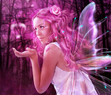 'Crystal Heart Dreamy' - pretty, dress, glow, charm, beautiful, digital art, angels, women, sweet, hair, fantasy, photomanipulation, crystal heart, people, fairies, flowers, girls, pink, animals, female, wings, models, lovely, colors, butterflies, cool, heart, weird things people wear, backgrouds