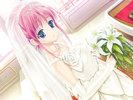 ♡ Bride ♡ - pretty, dress, divine, veil, bride, beautiful, sublime, elegant, floral, sweet, nice, anime, hot, beauty, anime girl, long hair, gorgeous, wed, female, lovely, gown, amour, sexy, wedding, cute, girl, bouquet, flower, pink hair, angelic