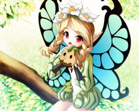 Mercedes - pretty, blond, video game, game, adorable, wing, floral, sweet, nice, twin tail, mercedes, long hair, archer, fairy, wings, lovely, twintail, blonde, blonde hair, twintails, odin sphere, chibi, twin tails, rpg, blond hair, braids, kawaii, warrior, flower