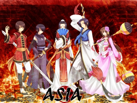 Hetalia: Dynasty Warriors - dress, friend, guy, video game, crossover, dynasty warriors, group, anime, mmorpg, anime girl, weapon, hetalia, team, female, male, axis powers, asia, rpg, armor, boy, warrior, girl, oriental, hetalia axis powers