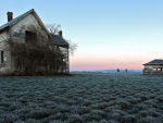 abandoned farmhouse in the middle of fields