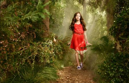 Mackenzie Foy - dress, forest, girl, green, Mackenzie Foy, red, actress