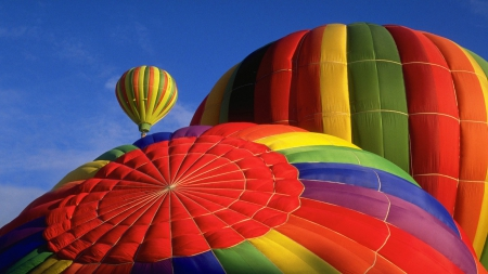 COLOR IN THE SKY - colorful, stripes, photos, playtime, sky, nacro, hot air, close up, landscapes, flying, balloons