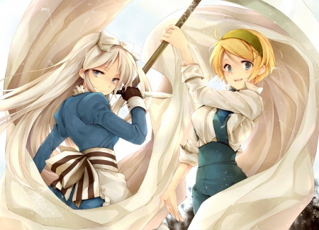White flag - ukraine aph, female, two girls, manga, belarus aph, flag, white flag, duo, girl, Hetalia, anime, aph, Hetalia Axis Powers