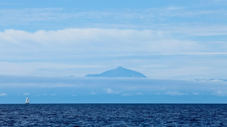 Spain Island of Tenerife - hd, see, view, teberife, clouds, volcano, spain, nature, island, canaries