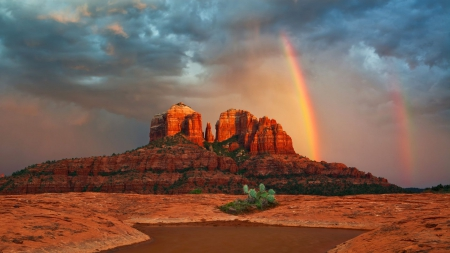 *** Rainbow in the desert *** - rainbow, desert, rocks, nature