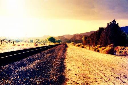 Railroad Path - paths, Desert, Landscape, Railroad