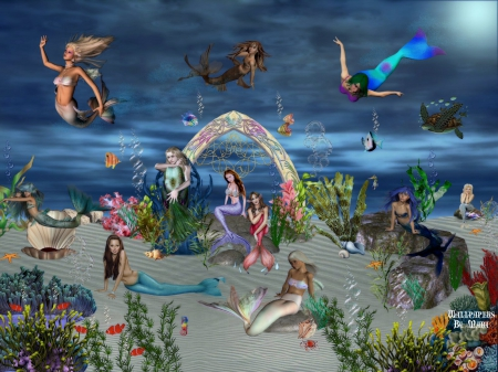 Mermaids At Home 1600x1200 - Fish, Mermaids, Turtles, Underwater, Fantasy