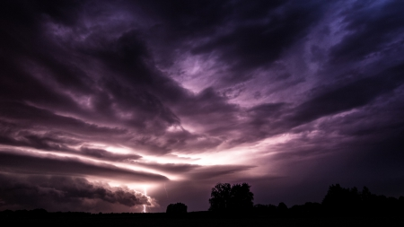 superb lightning from an angry sky - sky, lightning, clouds, stormy