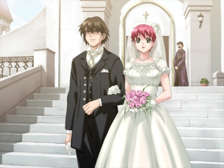 ♡ Couple ♡ - pretty, sweet, floral, marry, nice, groom, anime, handsome, anime girl, lovely, gown, sexy, happy, cute, married, dress, guy, bride, elegant, staircase, stair, hot, wed, gorgeous, bride and groom, boluquet, female, male, church, wedding, boy, girl, flower