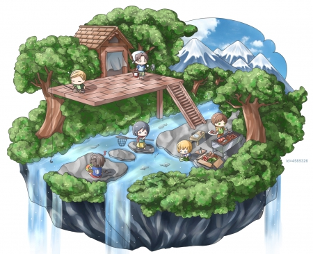 Fishing - friend, guy, adore, adorable, group, attack on titan, anime, waterfall, anime girl, armin arlert, team, female, male, hanji zoe, eren jaeger, levi, Shingeki no Kyojin, abstract, chibi, pond, mikasa ackerman, boy, kawaii, water, girl, irvin smith