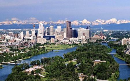 Calgary, Alberta - Skyscrapers, Mountains, River, Cityscape