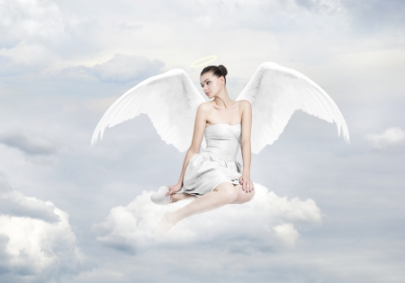 Delicate White Angel for JACQELINEla ♥ - fantasy, wings, fluffy, angel, clouds, lady, fairy