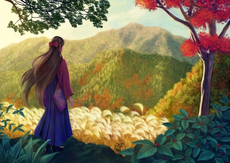 Anime LandScape - hills, lovely, rown hair, wind, trees, kimono, leafs, cool, girl, flowers, landscape