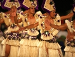 Polynesian Tahitian Dancers dancing and performing on Bora Bora Paradise Island Polynesia