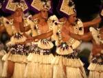 Polynesian Tahitian Dancers dancing and performing on Bora Bora Paradise Island Polynesia