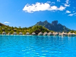 Perfect Blue Lagoon Ocean and water villas bungalows on paradise tropical island Bora Bora Polynesia Tahiti