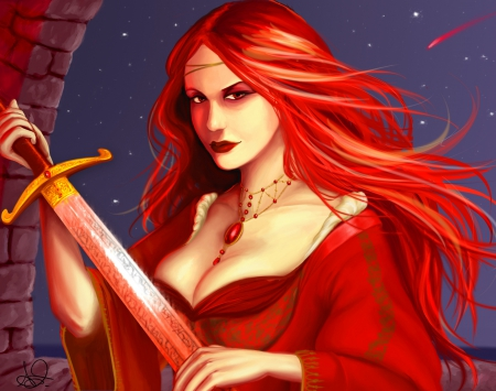 Melisandre of Asshai - Melisandre of Asshai, redhead, House Baratheon, paintwork, game of thrones, priestess, woman, artwork, picture, fantasy, wallpaper, SkyPhoenixX1, George R R Martin, sword, stars, Westeros, sky, abstract, a song of ice and fire, girl, lord of light, the red woman