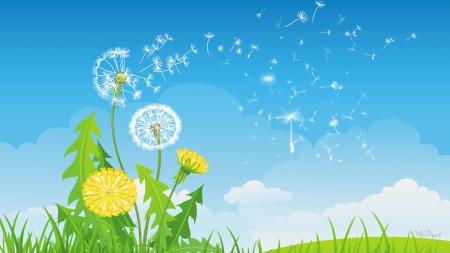 Flight of the Dandelions - fall, autumn, grass, dandelions, scatter, spring, sky, clouds, seeds, leaves, summer, flowers, lawn, weeds