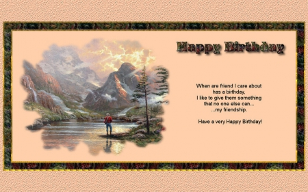 Birthday Friendship 2 - scenery, birthday, friendship, painting, art, artwork, wide screen