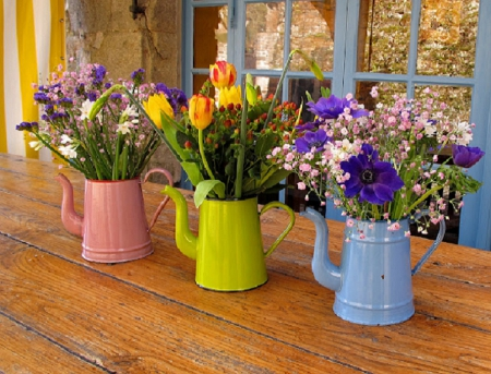 Fragrance of spring - lovely, window, yellow, spring, glass, water cans, flowers, tulips, pink, wood, blue