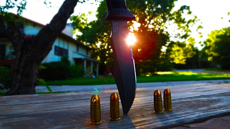 Knife And Bullets - amazing, Photogrophy, 9mm, Knife, Epic, Beautiful, lol, SOG, Nature, Cool, LOL, Awesome, Sun, Gun, Abstract, evening