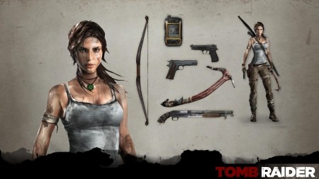 Lara weapons - tomb raider, bow, sexy, arrow, weapons, tomb, croft, guns, lara, raider