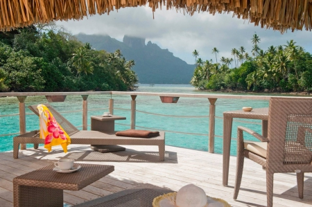 Amazing View out of Water Villa- Bungalow on tropical paradise island Bora Bora, Tahiti, Polynesia - polynesia, resort, french, mount, retreat, bungalow, palm, mountain, lagoon, beach, bungalows, beauty, luxury, islands, ocean, trees, south, vista, otamanu, water, perfection, society, paradise, seas, southseas, villa, volcano, sea, bora bora, sand, green, room, blue, hotel, cloud, exotic, view, balcony, lush, peace, escape, mist, suite, spa, island, tropical, tahiti, villas