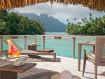 Amazing View out of Water Villa- Bungalow on tropical paradise island Bora Bora, Tahiti, Polynesia
