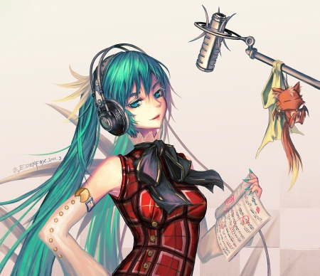 Hatsune Miku - superstar, dress, hatsune miku, green eyes, headphones, twin tail, anime, hot, anime girl, vocaloids, long hair, vocaloid, female, twintail, ribbon, miku, diva, twintails, singer, sexy, twin tails, cute, hatsune, microphone, girl, idol