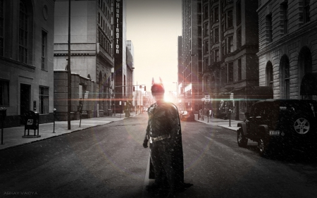 Batman in Gotham City - dark knight, gotham city, batman, gotham