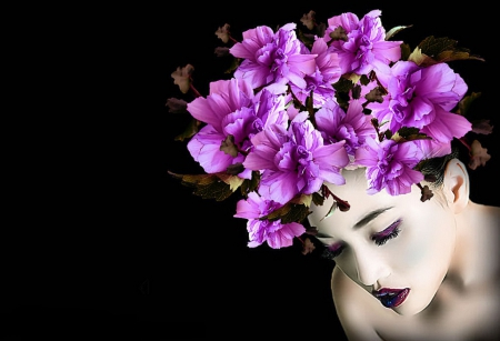 Purple Flower Beauty - art, beautiful, woman, photography, fantasy, girl, serene, wallpaper, digital, flowers, face