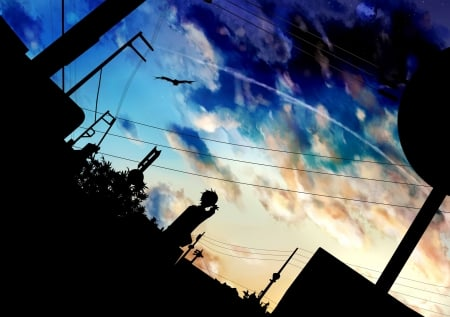 Beautiful sky - city, anime, cg art, person, manga, silhouette, sky, landscape