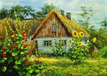 Rural house - pretty, hut, house, grass, home, beautiful, straw, countryside, nice, sunflowers, painting, village, flowers, beauty, rural, art, rustic, quiet, calmness, lovely, trees, serenity, nature