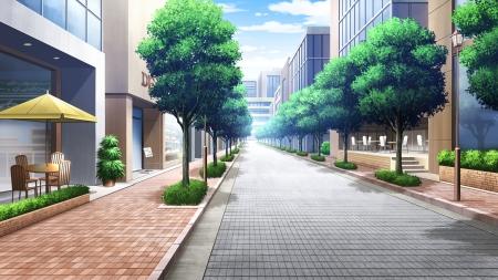 Anime Background Scenery Street