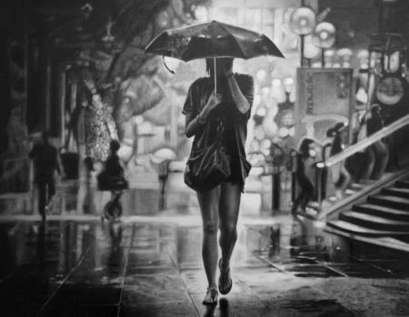New York City Girl - solitude, black and white, pencil drawing, umbrella, solo, rain